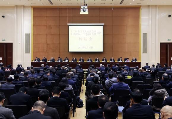 Chefe do Excutivo na sessão de apresentação das conclusões das duas reuniões de 2017 da Assembleia Popular Nacional e da Conferência Consultiva Politica do Povo Chinês
