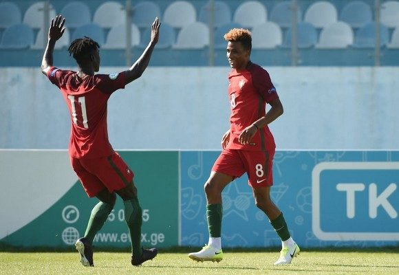 Gedson Fernandes of Portugal celebrates after scoring a goal with team-mate Mesaque Dju, 11, during the UEFA European Under-19 Championship 2017 Semi Final match.
