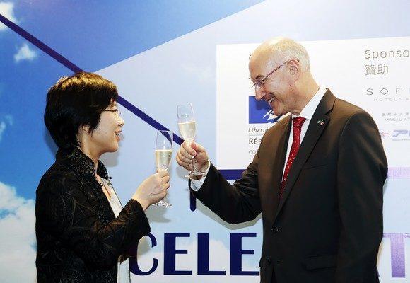 Secretária para a Administração e Justiça, Sónia Chan, em representação do Chefe do Executivo, presente na recepção no âmbito das comemorações do Dia Nacional de França